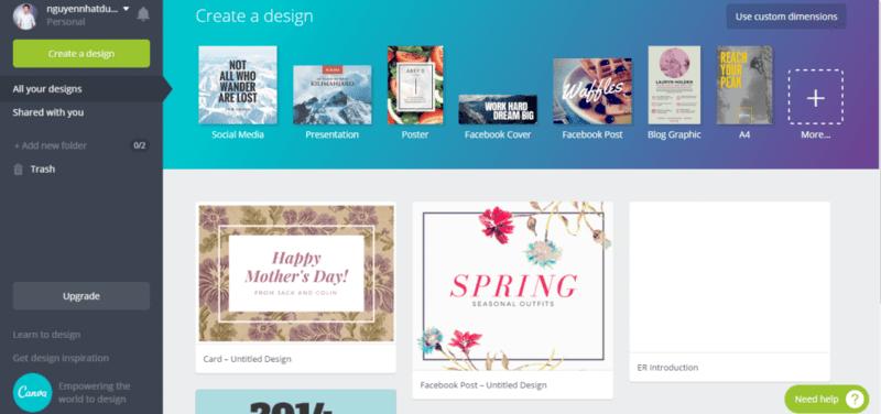 Canva - website cung cấp kho template miễn phí cho người dùng