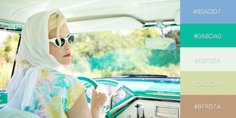 """Bộ màu """"Phong cách Vintage những năm 50s"""" gợi lên một chút hoài cổ, retro bằng cách kết hợp độc đáo giữa sắc thái xanh dương, cam, lục lam mạnh và vàng nhạt"""
