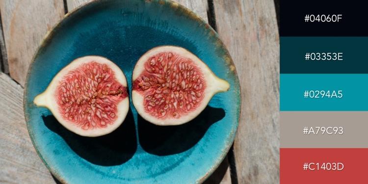 Bức ảnh trái cây chín đã gợi cảm hứng cho sự kết hợp giữa sắc xanh dương, xanh lam và đỏ. Nếu kết hợp các tông màu lạnh, bài thuyết trình của bạn sẽ có vẻ chuyên nghiệp, trang trọng; ngược lại các tông màu nóng lại thể hiện năng lượng và sức sống