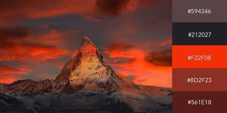 Bộ màu gồm sắc đen và những sắc thái đỏ được lấy cảm hứng từ ngọn núi tuyết ở Thụy Sĩ được bao phủ bởi mây