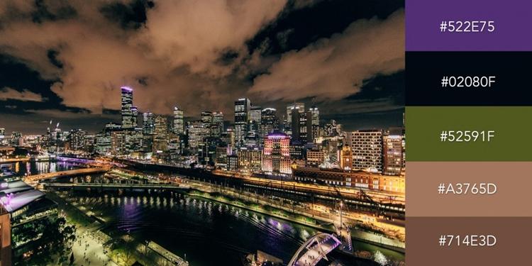 Nếu như bạn đang tìm kiếm một bộ màu tạo cảm giác hiện đại, năng động thì sự kết hợp màu lấy cảm hứng từ ảnh chụp thành phố từ trên cao sẽ là sự lựa chọn lý tưởng