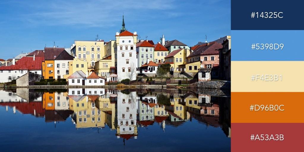 Lấy cảm hứng từ những căn nhà đầy màu sắc rực rỡ tại châu Âu, bảng màu sẽ tạo cho bài thuyết trình những gam màu cổ điển nhưng chưa bao giờ lỗi thời