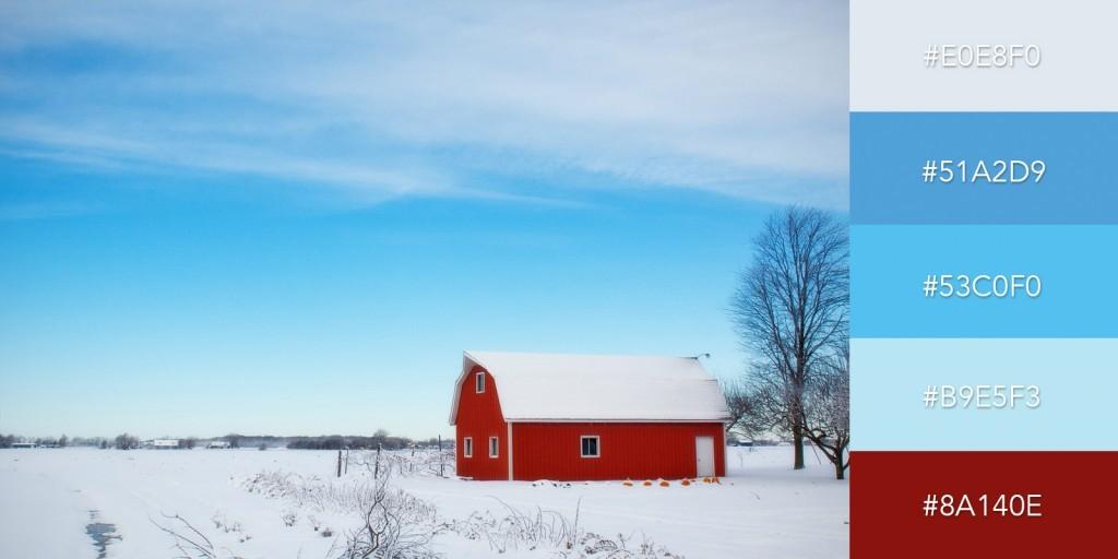 Một bảng màu đầy tính độc đáo kết hợp giữa những màu xanh nhẹ nhàng và đỏ rực rỡ