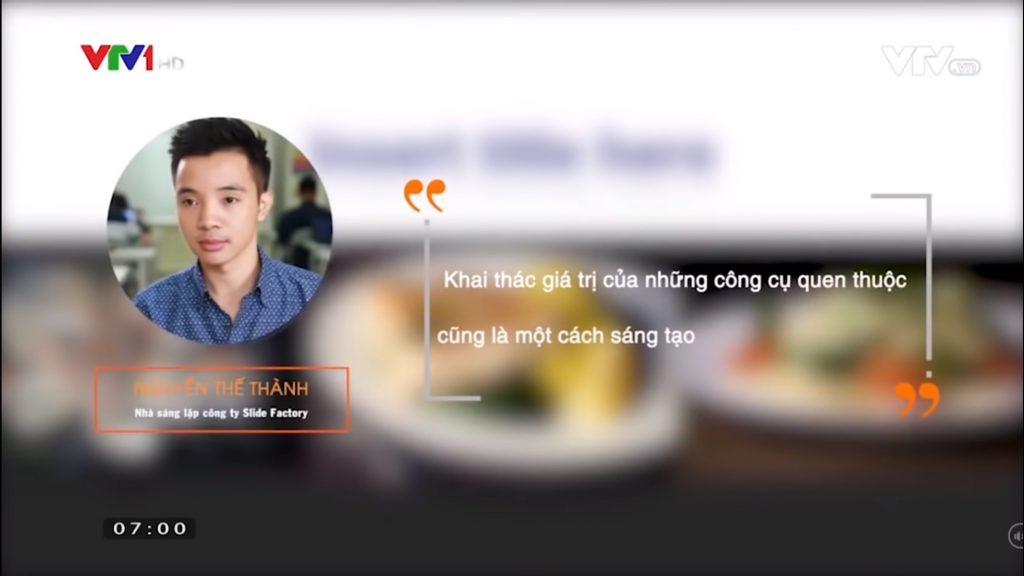 """Anh Nguyễn Thế Thành - CEO của Slide Factory trong một lần chia sẻ với chương trình """"VTV - Cà phê khởi nghiệp"""""""