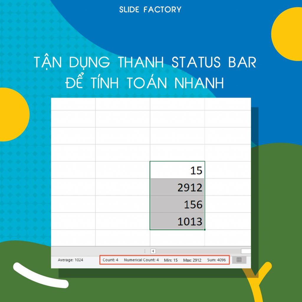 Mẹo excel 1 - Tận dụng thanh Status Bar để tính toán nhanh